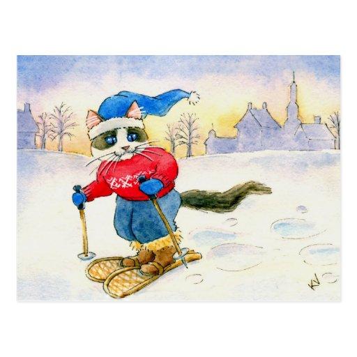 Cartão do gato do sapato de neve cartoes postais