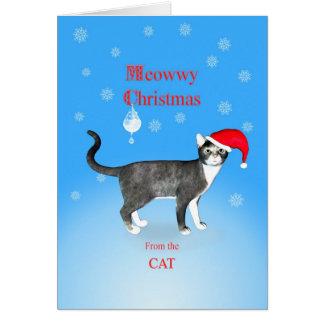 Cartão Do gato, gato do Natal de Meowwy