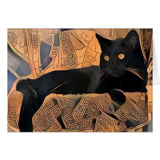 Cartão do gato preto, grego inspirado, vazio