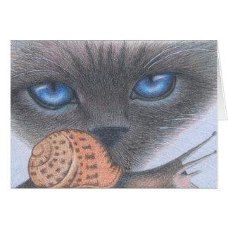 Cartão do gato Siamese e do caracol