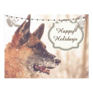 Cartão do german shepherd dos cartões de natal