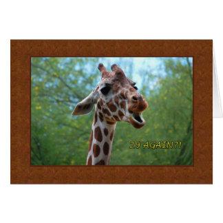 Cartão do girafa 29 do aniversário outra vez