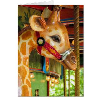 Cartão do girafa do carrossel