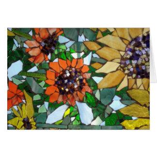 Cartão do girassol do mosaico por Willowcatdesigns