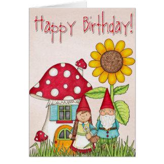 Cartão do gnomo do feliz aniversario