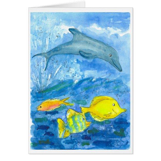 Cartão Do golfinho tropical dos peixes de Tang feliz