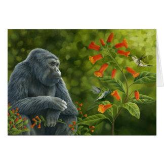 Cartão do gorila & dos colibris