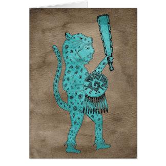 Cartão do guerreiro de Jaguar (azul no marrom)