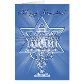 cartão do hannukah com estrela e velas