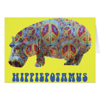 Cartão do Hippopotamus do hippy do Hippie da paz e