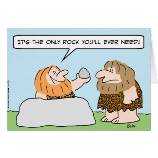 Cartão do homem das cavernas somente da rocha necessidade