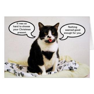 Cartão do humor do Natal do gato do smoking