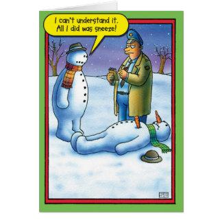 Cartão do humor do Natal do Sneeze do boneco de
