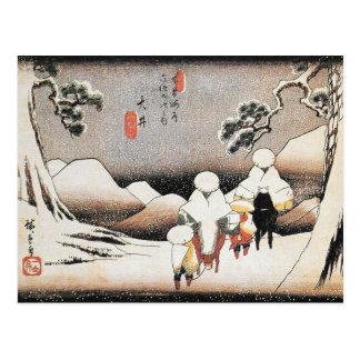 Cartão do impressão da arte da neve de Hiroshige