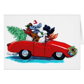 Cartão do impressão da arte do carro vintage do Na