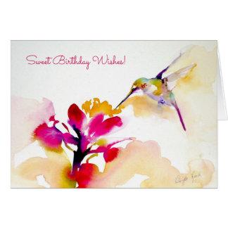 """Cartão Do """"impressão do colibri do sorvo por do sol"""""""