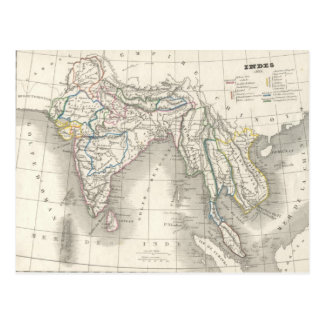 Cartão do impressão do mapa de India do Velho