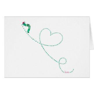 """Cartão Do """"inseto"""" Caterpillar amor"""