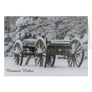 Cartão do inverno com vagão