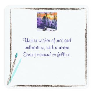 Cartão do inverno convite quadrado 13.35 x 13.35cm