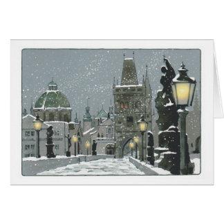 Cartão do inverno da ponte de Charles
