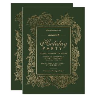 Cartão Do inverno floral do verde de caçador do ouro