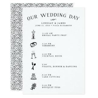Cartão do itinerário do casamento para o partido &