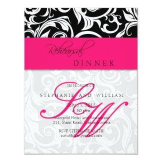 Cartão do jantar de ensaio do monograma do convite 10.79 x 13.97cm