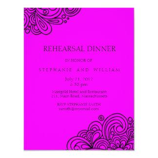 Cartão do jantar de ensaio do redemoinho do convite 10.79 x 13.97cm