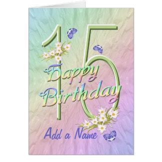 Cartão do jardim da borboleta do aniversário do