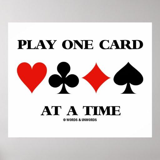 Cartão do jogo um em um momento (quatro ternos do  posters
