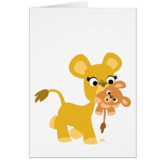 Cartão do leão e do Cub da mãe dos desenhos