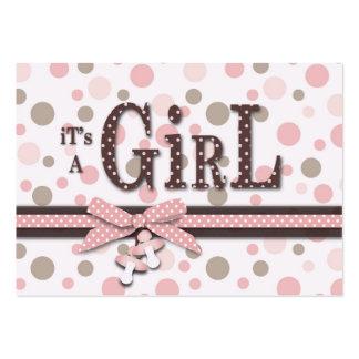 Cartão do lembrete do chá de fraldas da menina cartão de visita grande
