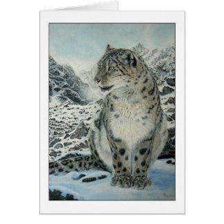 Cartão do leopardo do rei neve da cimeira