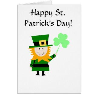 Cartão do Leprechaun do dia de St Patrick feliz