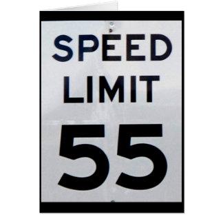 Cartão do limite de velocidade 55