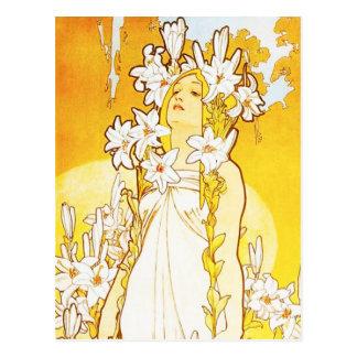 Cartão do lírio de Alphonse Mucha Cartão Postal