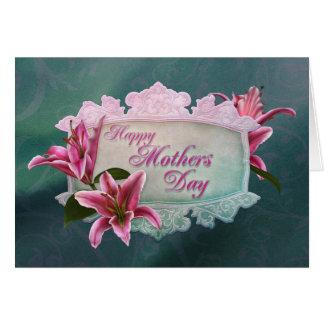 Cartão do lírio do Stargazer do dia das mães