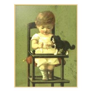 Cartão do livro da sucata do vintage com bebê doce