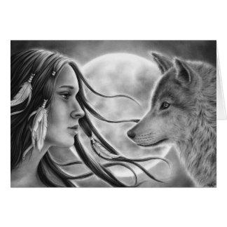 Cartão do lobo dos espírito do cruzamento