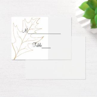 Cartão do lugar do casamento da folha do carvalho