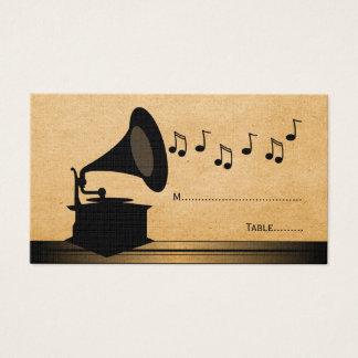 Cartão do lugar do gramofone do vintage do ébano