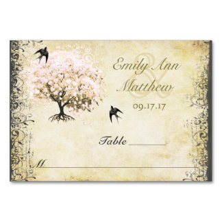 Cartão do lugar do pássaro do vintage da árvore do