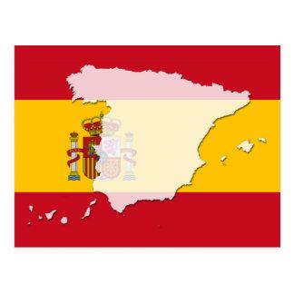 Cartão do mapa da bandeira da espanha cartão postal