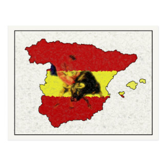 Cartão do mapa da espanha com Bull e Matador Cartões Postais