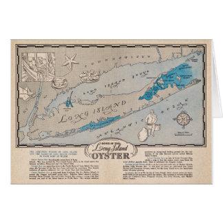 Cartão do mapa da ostra do vintage