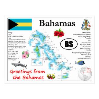 Cartão do mapa de Bahamas
