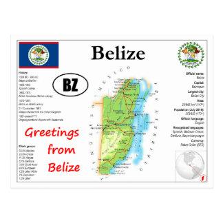 Cartão do mapa de Belize