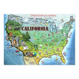 Cartão do mapa de Califórnia EUA Convites Personalizado