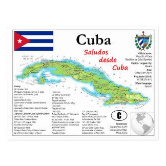 Cartão do mapa de Cuba
